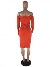 Solid Split Long Sleeve Off The Shoulder Dress