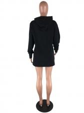 Letter Hooded Long Sleeve Short Dress