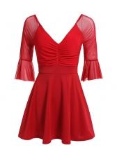 Korean Style V Neck Flare Sleeve A-Line Dress