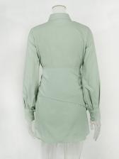 Single-Breasted Lantern Sleeve Green Shirt Dress