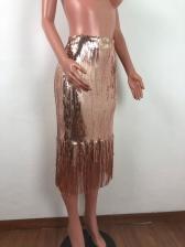 Tassel Hem Solid Glitter Sequin High Waisted Skirt