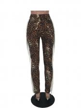 Mid Waist Leopard Print Tassel Edge Skinny Jeans