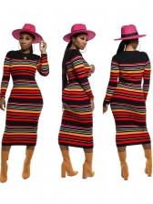Casual Colorful Striped Long Sleeve Maxi Dress