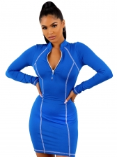 Stand Neck Long Sleeve Bodycon Sporty Dress