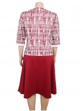 African Large Hem Plaid Two Piece Plus Size Dress
