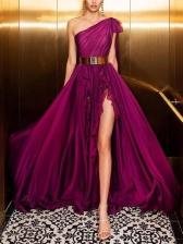 One Shoulder High Split Hem Burgundy Evening Dress