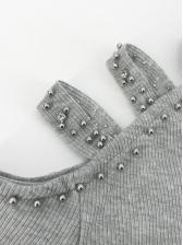 Cold Shoulder Rhinestones Decor Long Sleeve Dress