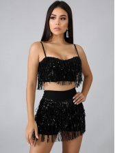 Sexy Sequined Tassel Two Piece Short Set