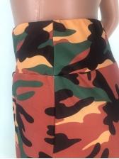 Camouflage Elastic Waist Flare Pants