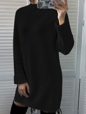 Minimalist Solid Color Stand Neck Sweater Dresses