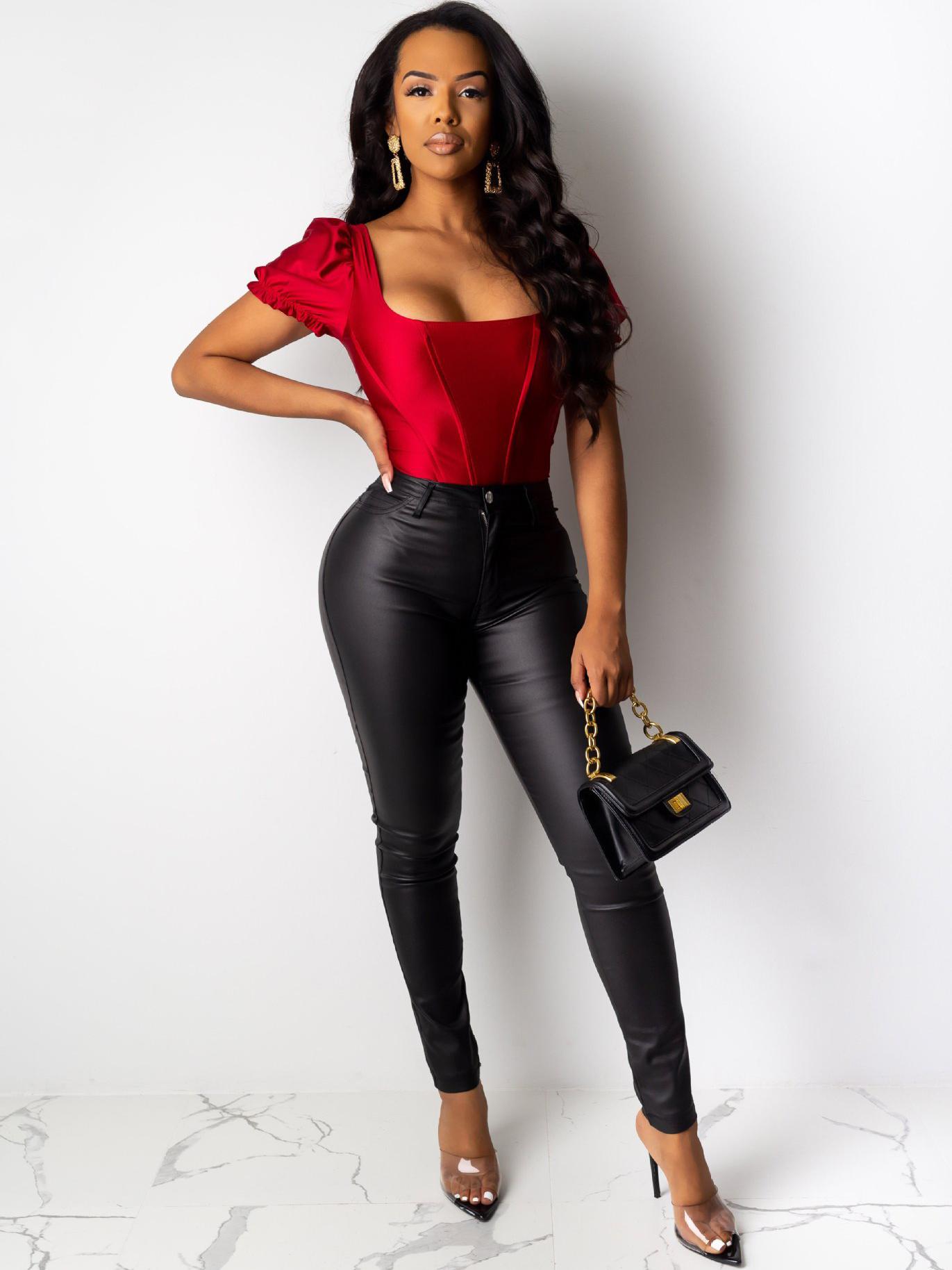 Pu Solid Sexy Black Pants