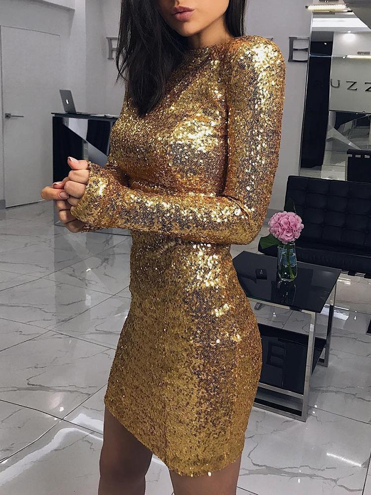 Sexy Long Sleeve Bodycon Sequin Dress