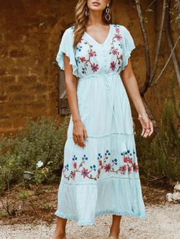 Vacation Embroidery Short Sleeve Midi Dress
