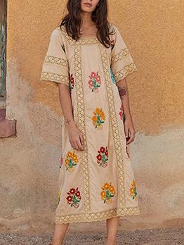 Bohemian Flower Embroidery Short Sleeve Midi Dress