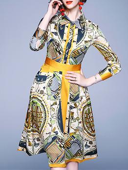 Winter Ladies Turn-Down Collar Shirt Dress