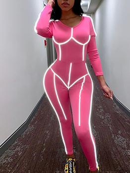 Reflective Light Skinny Long Sleeve Jumpsuit