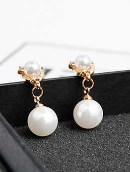 Vintage Geometric Faux Pearl Earrings For Women