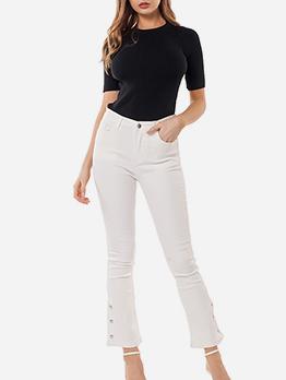 High Elastic Button Decor White Jeans