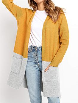 Two Tone Pockets Long Cardigan