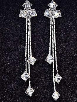 Chic Long Rhinestone Tassel Earrings