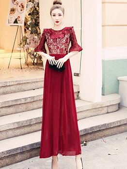 Sexy Patchwork Chiffon Lace Maxi Dress