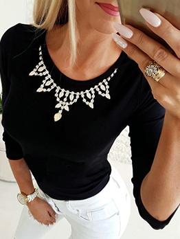 Rhinestone Decor Long Sleeve T Shirt Design