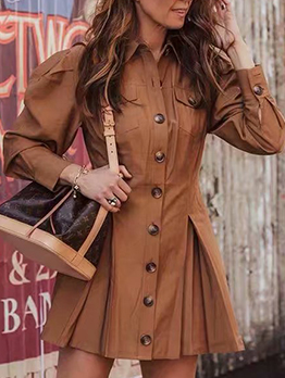 Solid Color Turndown Collar Long Sleeve Dress