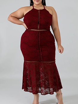 Backless Solid Sleeveless Lace Plus Size Dress