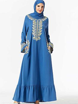 Elegant Flare Sleeve Embroidery Maxi Muslim Dress