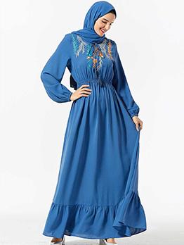 Embroidery Large Hem Blue Plus Size Muslim Dress