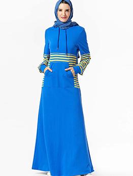 Striped Long Sleeve Plus Size Muslim Dress