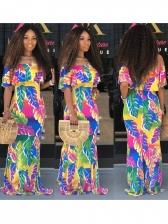 Fashion Strapless Short Sleeve Floral Maxi Dress
