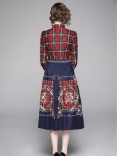 Plaid Contrast Color Shirt Print Maxi Dress