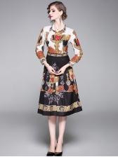 Slim Fit Print Long Sleeve Shirt Dress