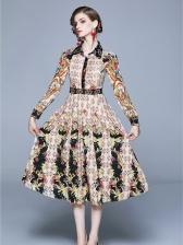 Stylish Pleated Print Long Sleeve Shirt Dress