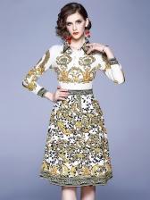 Graceful Slim Fitted Print Ladies Long Sleeve Dress
