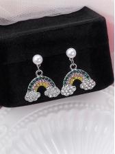 Rhinestone Decor Rainbow Clouds Faux Pearl Earrings