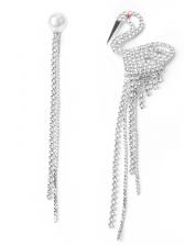 Chic Full Rhinestone Asymmetric Tassel Earrings