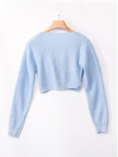 Twist Solid Ribbed Cropped Sweater