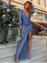 Deep v Glitter Split Long Sleeve Maxi Dress