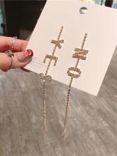 Letter Asymmetric Rhinestone Decor Drop Earrings