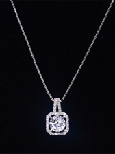 Simple Square Rhinestone Pendant Necklace