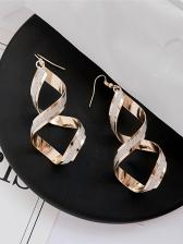 Simple Design Spiral Long Earrings