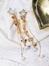 Chic Star Tassel Faux Pearl Long Earrings