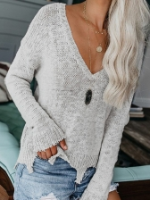 Irregular Ham Loose V Neck Sweater