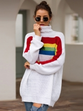 High Neck Color Striped Knit Sweater