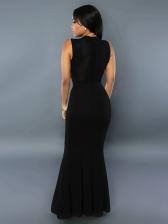 Elegant Rhinestone Decor Bodycon Evening Cocktail Dress