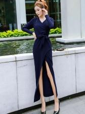 V Neck Long Sleeve Solid Color Maxi Dress