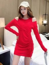 Cold Shoulder Drawstring Solid Bodycon Dress