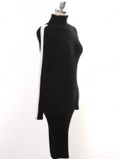 Fashion High Neck Long Sleeve Dress